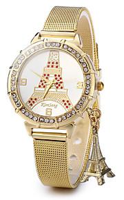 Mulheres Relógio de Moda Quartz / Aço Inoxidável Banda Torre Eiffel Dourada marca