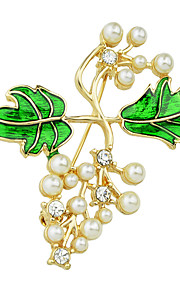 imiteret perle emalje gren form brocher