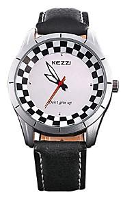 Masculino Relógio de Pulso Quartz / Couro Legitimo Banda Legal / Casual Preta / Branco marca