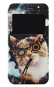 modello gatto finestratura caso PU telefono cellulare a conchiglia con finestra per iPhone 7 7 più