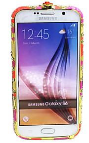 Kännykkä puskuri Tekojalokivi / Embossed Kukka Metalli Kova Tapauksessa kattaa Samsung Galaxy S6 edge / S6