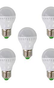 5W E26/E27 LED-globepærer G45 26 SMD 3022 350 lm Varm hvit AC 220-240 V 5 stk.
