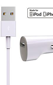 Zestaw do ładowania Ładowarka samochodowa Other 1 port USB z kablem For iPhone(5V , 1A)