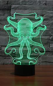 blekksprut berøre dimming 3D LED nattlys 7colorful dekorasjon atmosfære lampe nyhet belysning jul lys