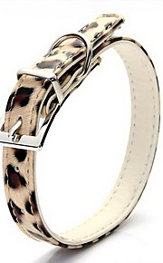 Dog Collar Adjustable/Retractable Leopard Gold PU Leather