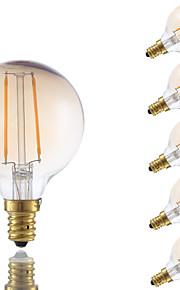 2W E12 LED-glødepærer G16.5 2 COB 160 lm Ravgult Dimbar V 6 stk.