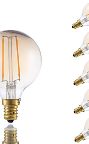 2W E12 LED-glødetrådspærer G16.5 2 COB 160 lm Ravgul Justérbar lysstyrke V 6 stk.