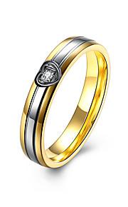 Ringe Kvadratisk Zirconium Daglig Afslappet Smykker Rustfrit Stål Zirkonium Titanium Stål Dame Ring 1 Stk.,6 7 8 9 Gul Guld
