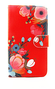Red Flower Pattern PU Leather Full Body Case with Stand and Card Slot for LG G5