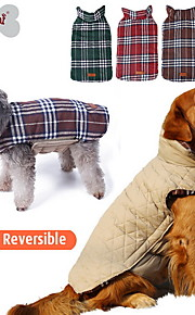 Gatos / Cães Casacos / Colete Vermelho / Verde / Marrom / Beje Roupas para Cães Inverno Xadrez Da Moda / Reversível / Mantenha Quente
