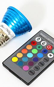 YouOKLight E27 3W 1-LED Multi-Colored RGB Light Bulb w/ Remote Control (AC 85265V)