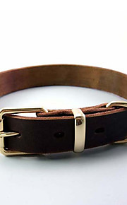 Dog Collar Adjustable/Retractable Solid Brown Genuine Leather