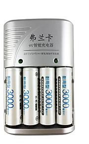 fulanka의 1.2 금주 모임 AAA의 9V (6F22) 리튬 이온 니켈 수소 니카드 배터리 충전기 자동차 배터리 충전기 + 4 개 충전 용 배터리