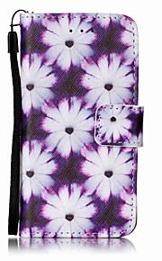 Purple Chrysanthemum Painting PU Phone Case for apple iTouch 5 6