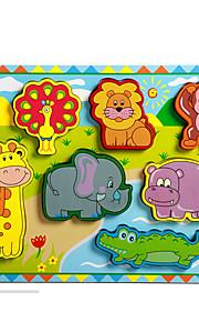puslespil Pædagogisk legetøj / Puslespil Byggesten DIY legetøj Elefant / Tyr / Hest 8 Træ Regnbue Hobbylegetøj