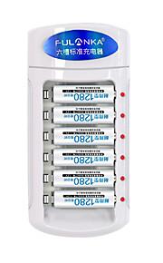 fulanka의 1.2 금주 모임 AAA 니켈 수소 니카드 배터리 충전기는 6 슬롯 충전식 AAA 고용량 1280mah 배터리 장착