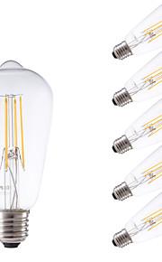 4W E26/E27 LED-glødepærer ST58 4 COB 450 lm Varm hvit Dimbar / Dekorativ AC 220-240 V 6 stk.