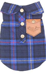 Cani T-shirt Blu Abbigliamento per cani Inverno / Primavera/Autunno A quadri Casual