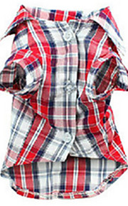 honden T-shirt Rood Hondenkleding Zomer / Lente/Herfst Geruit Casual/Dagelijks