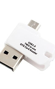Usb 2.0 micro usb 2-in-1 tf kaartlezer met otg