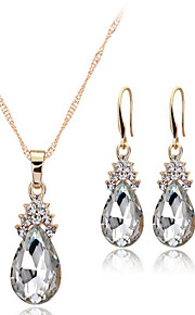 May Polly  Crystal angel tear Necklace Earrings