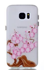 För Självlysande fodral Skal fodral Blomma Mjukt TPU för Samsung S7 edge S7