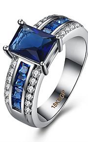 Ringe Kvadratisk Zirconium Daglig Afslappet Smykker Zirkonium Plastik Titanium Stål Dame Ring 1 Stk.,6 7 8 9 Blå