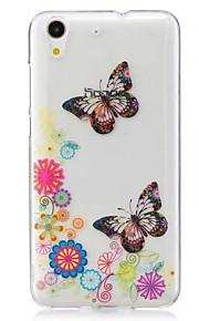 Voor Ultradun Patroon hoesje Achterkantje hoesje Vlinder Zacht TPU voor Huawei Huawei Honor 5C