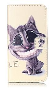 För Plånbok Korthållare med stativ Lucka fodral Heltäckande fodral Katt Hårt PU-läder för AppleiPhone 7 Plus iPhone 7 iPhone 6s Plus/6