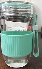 transparante cartoon to-go outdoor drinkware, 280 ml filtreerbare draagbare glas sap water tumbler thee&drank