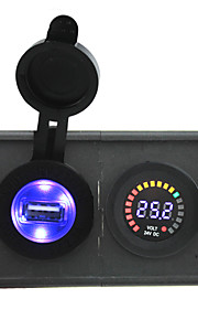 24V led digital display voltmeter and 2.1A USB adapter with housing holder panel for car boat truck RV