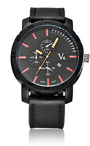 V6®Men's Women's Fashion Watch Quartz / PU Band Casual Black Brown Brand