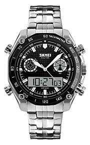Masculino Relógio Esportivo Relógio de Pulso Quartzo Japonês LED Calendário Impermeável Dois Fusos Horários alarme CronômetroAço