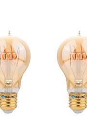 4W E26/E27 LED필라멘트 전구 A60(A19) COB 400 lm 따뜻한 화이트 장식 AC 220-240 V 2개