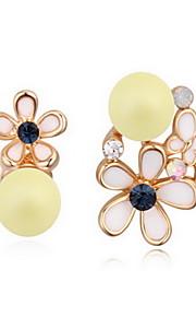 Perle Lyserød Blomstformet Dråbeøreringe Smykker Natur Daglig Legering 1 par Aqua Sort Hvid Gul Pink Himmelblå