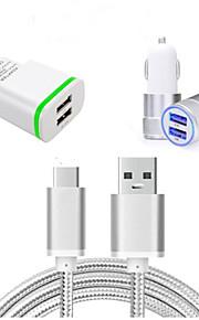 Cargador de Coche Cargador de Hogar Para Teléfono Móvil 2 Puertos USB Enchufe EU