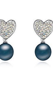 Perle Lyserød Hjerteformet Stangøreringe Smykker Natur Daglig Legering 1 par Sort Hvid Kobberfarvet Grå Mørk Marineblå