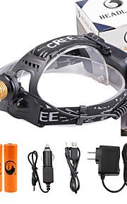 Stirnlampen LED 3000 Lumen 4.0 Modus Cree XP-E R2 18650 einstellbarer Fokus Kompakte Größe Prüfgerät für FälschungenCamping / Wandern /