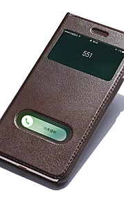 For Med stativ Med vindue Flip Etui Heldækkende Etui Helfarve Hårdt Ægte læder for Apple iPhone 7 Plus iPhone 7