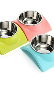 Cat Dog Bowls & Water Bottles Pet Bowls & Feeding Waterproof Portable Green Blue Pink Stainless Steel
