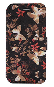 For iPhone 7Plus 7 PU Leather Material Butterfly Flowers Pattern Painted Phone Case 6s Plus 6Plus 6S 6 SE 5s 5