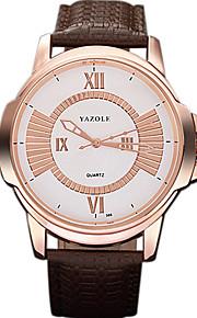 YAZOLE 남성 드레스 시계 패션 시계 캐쥬얼 시계 손목 시계 중국어 석영 PU 밴드 멋진 캐쥬얼 창의적 블랙 브라운 블랙 브라운
