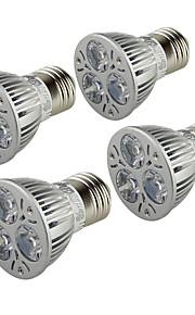 3W E26/E27 LED-spotpærer B 3 Høyeffekts-LED 250 lm Varm hvit AC 85-265 V 4 stk.