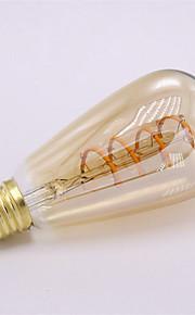 4W E26/E27 LED-gloeilampen ST64 1 COB 400 lm Warm wit Dimbaar Decoratief AC 220-240 V 1 stuks