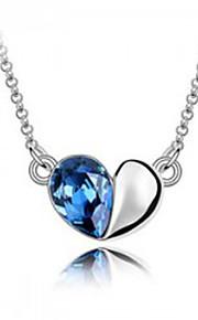 Dame Halskædevedhæng Krystal Kærlighed Hjerte Mode Personaliseret Euro-Amerikansk Mørkeblå Lilla Rød Lyseblå Smykker For Bryllup Fest1