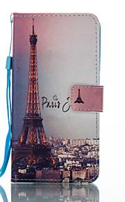 For Pung Kortholder Med stativ Flip Mønster Etui Heldækkende Etui Eiffeltårnet Hårdt Kunstlæder for HuaweiHuawei P8 Lite (2017) Huawei