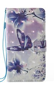 Para Cartera Soporte de Coche con Soporte Flip Diseños Magnética Funda Cuerpo Entero Funda Mariposa Dura Cuero Sintético para SamsungA3