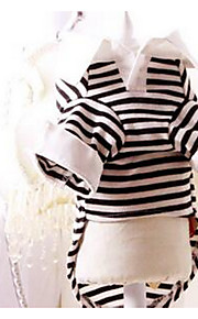 犬用品 Tシャツ 犬用ウェア 夏 縞柄 キュート カジュアル/普段着 ブラック/ホワイト