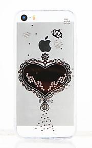 Per Con diamantini Transparente Fai da te Custodia Custodia posteriore Custodia Con cuori Morbido TPU per Apple iPhone SE/5s iPhone 5