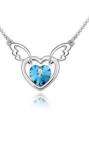 Dame Halskædevedhæng Krystal Kærlighed Hjerte Euro-Amerikansk Mode Personaliseret Mørkeblå Lyseblå Lys Grøn Smykker For Bryllup Fest1
